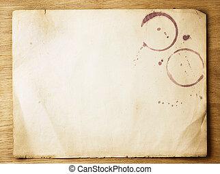 op, papier, oud, achtergrond, houten, blad
