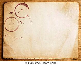 op, papier, oud, achtergrond, houten, blad, vlekken