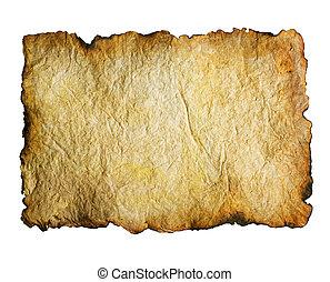 op, papier, oud, gebrande, randen, witte