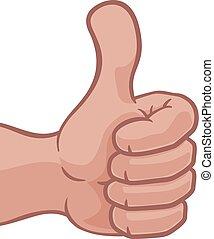 op, pictogram, duimen, spotprent, hand
