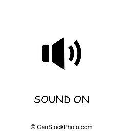 op, pictogram, geluid, vector, audio, plat