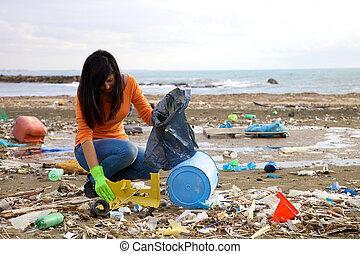 op, plastic, middelbare , plukken, het proberen, vervuiling
