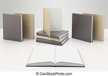 op, render, pagina's, dekking, anderen, boekjes , leeg, tafel, witte , boek, spotten, 3d
