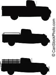 op, silhouette, vrachtwagens, plukken