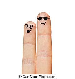 op, smiley, vingers, twee, gezichten, afsluiten