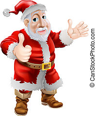 op, spotprent, kerstman, duimen