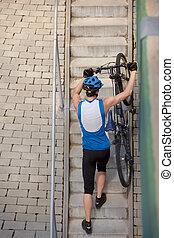 op, stappen, fietser, komst