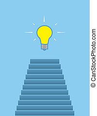 op, stappen, lightbulb