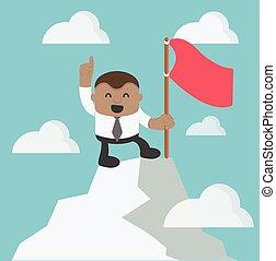 op, succes, wijzende, jonge, vlag, zakenman, vinger, hebben, afrikaan, heuveltop, rood