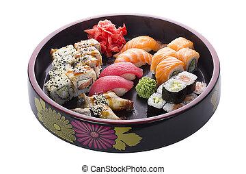 op, sushi, set, witte achtergrond