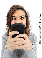 op, telefoon, tiener, verslaafd, afsluiten, smart