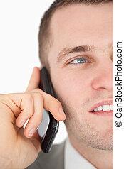 op, telefoon, zakenman, roepen, vervaardiging, afsluiten, mooi