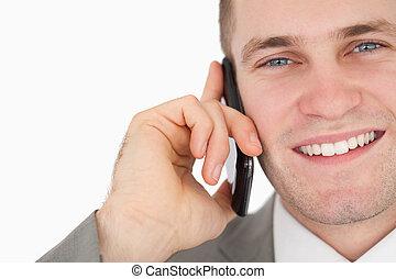 op, telefoon, zakenman, roepen, vervaardiging, afsluiten, vrolijke
