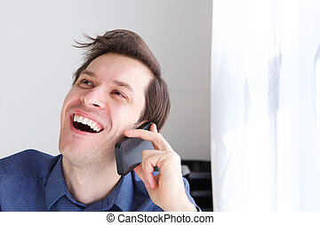 op, telefoongesprek, lachen, zakenman, afsluiten, mooi