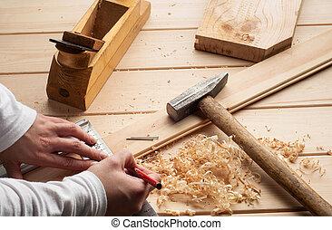 op, timmerman, schaaf, hout, spijkers, gereedschap, tafel