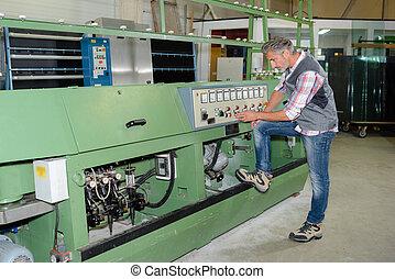 op, vatting, fabriek, man, mechanisme