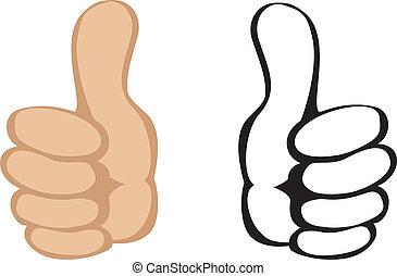 op, vector, gesture., duimen