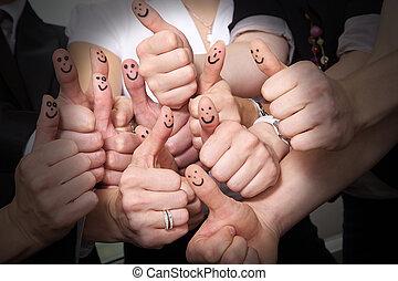 op, velen, duimen, lachen, tonen