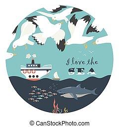 op, vliegen, seagulls, zee