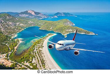 op, vliegen, zee, eilanden, vliegtuig, summer., zonopkomst