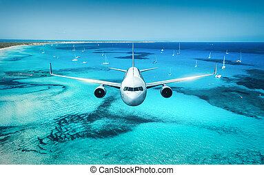 op, vliegen, zee, eilanden, vliegtuig, zonopkomst