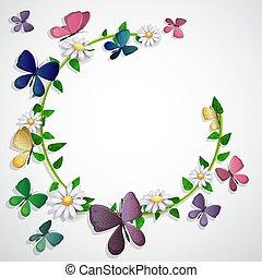 op, vlinder, achtergrond, bloemen, bladeren, kaart