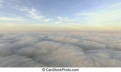 op, vlucht, clouds.