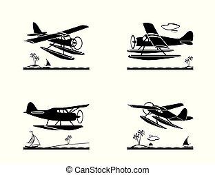 op, vlucht, seaplane, zee