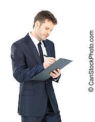 op, vrijstaand, handelaar geschrift, elegant, klembord, slijtage, achtergrond, kostuum, vastknopen, witte