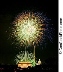 op, vuurwerk, washington dc, 4 juli