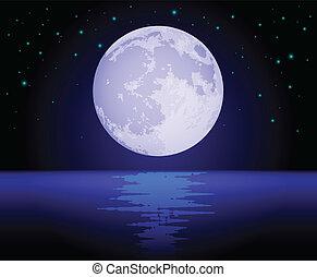 op, weerspiegelen, maan, oceaan