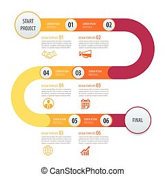 op, zijn, concept, infographic, zakelijk, workflow, tijdsverloop, opties, getal, gebruikt, opmaak, diagram, stap, vector, ontwerp, web, mal, arrows., groenteblik