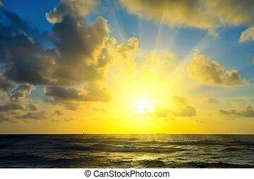op, zonopkomst, oceaan