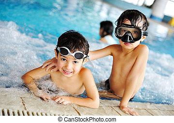 op, zwembad