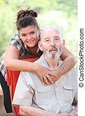 opa, grandaughter, opa, het glimlachen, of, vrolijke
