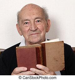 opa, lezende , fairy verhalen, van, een, oud, boek