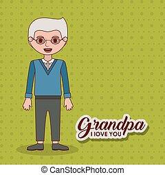 opa, ontwerp, spotprent, grootvader