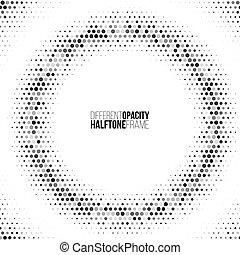 opacidade, diferente, um, dots., quadro, color., vetorial, desenho, element., halftone, clique, mudança