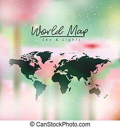 opacità, mappa, colorare, multicolor, sfondo verde, mondo