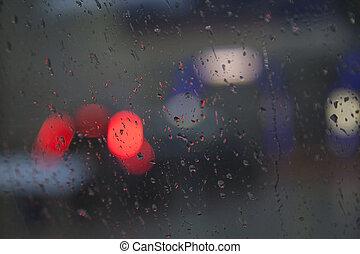 opad deszczu, światła, przez, podczas, mokry, zobaczony, ...
