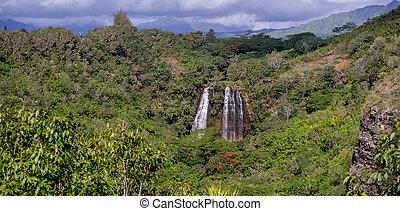 opaekaa cade, cascata, in, kauai