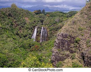 Opaekaa Falls waterfall in Kauai