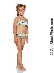 opalony, mała dziewczyna, w, niejaki, kostium kąpielowy