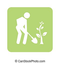 opaque green background with man with shovel and tree