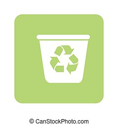 opaque green background with recycling container