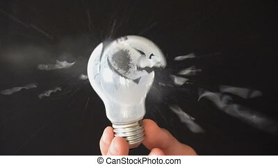 Opaque Light Bulb Shattering and Exploding Slow Motion