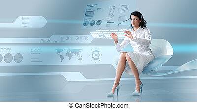 oparating, sexy, brünett, virtuell, tastatur