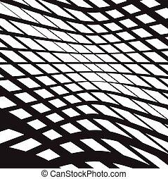 opart, arte, astratto, bianco, ondulato, sfondo nero, onde, ottico, strisce