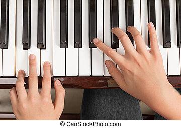 opatřit vrškem up, enská dílo, uzavřít, klavír hraní, názor