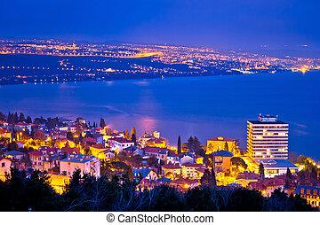 Opatija and Kvarner bay evening panoramic coastline view